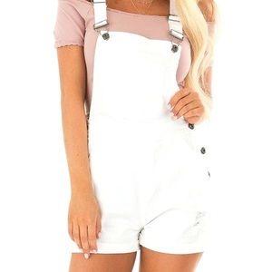White overalls shorts